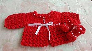 Conjunto Em Crochê Para Bebê vermelho paixão