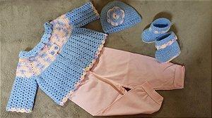 Conjunto Em Crochê Para Bebê azul fofo e rosa