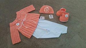 Conjunto Em Crochê Para Bebê salmão