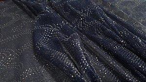 Tule Glitter Azul Marinho