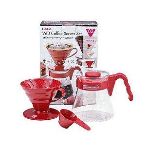 Kit Hario V60 para passar Café - Vermelho