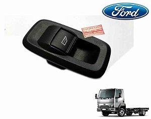 Botão Tecla Acionadora Levantar Vidro Simples - c/ Moldura - Lado Passageiro LD - Ford Cargo Geração 2 816e 1119e CN1514529AB