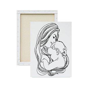 Tela para pintura infantil - Amor de Mãe