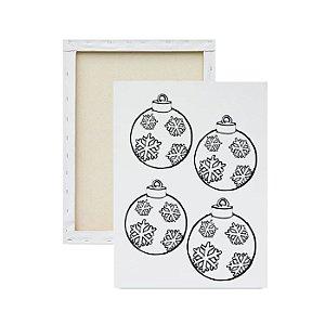 Tela para pintura infantil - Bolas Natalinas