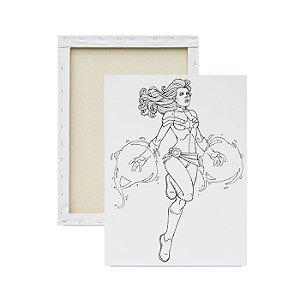 Tela para pintura infantil - Capitã Marvel Superpoderosa