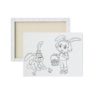 Tela para pintura infantil - Dora Aventureira da Páscoa