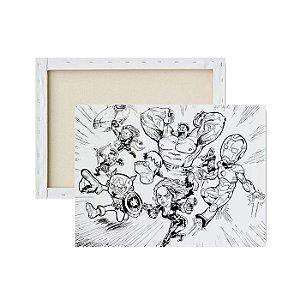 Tela Para Pintura Infantil - Os Vingadores em Desenho