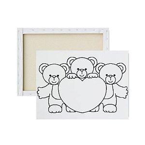 Tela Para Pintura Infantil - Tela Recado Ursinhos