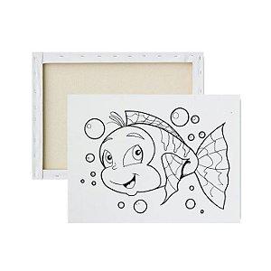 Tela para pintura infantil - Peixe Feliz