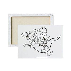 Tela para pintura infantil - Dino, Pedrita e Bambam