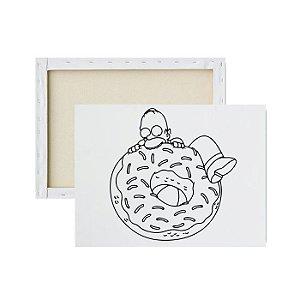 Tela para pintura infantil - Homer Comendo Rosquinha