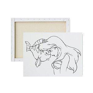 Tela para pintura infantil - Linguado e Ariel