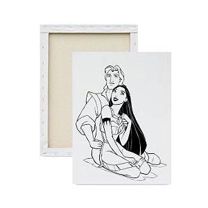 Tela para pintura infantil - Pocahontas e Príncipe