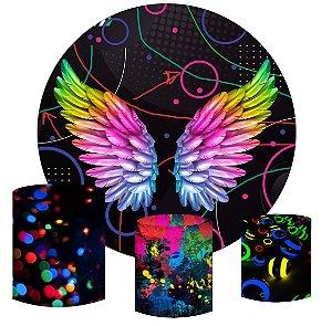Kit Painel Redondo De Festa e Capas de Cilindro em tecido sublimado Asas Neon