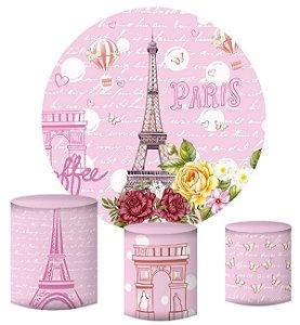 Kit Painel Redondo De Festa e Capas de Cilindro em tecido sublimado Paris Rosa