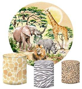 Kit Painel Redondo De Festa e Capas de Cilindro em tecido sublimado Safari Selvagem