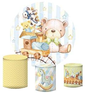 Kit Painel Redondo De Festa e Capas de Cilindro em tecido sublimado Brinquedos Cute Aquarela