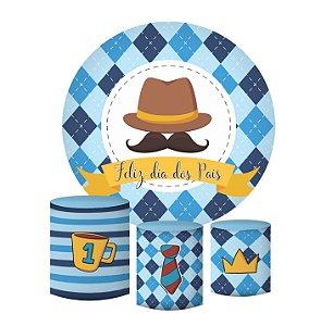 Kit Painel Redondo De Festa e Capas de Cilindro em tecido sublimado Dia dos Pais