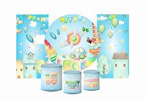 Super Kit Painel De Festa e Capas de Cilindro em tecido sublimado Lindos Brinquedos