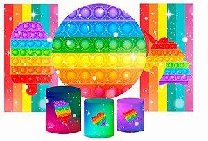 Super Kit Painel De Festa e Capas de Cilindro em tecido sublimado Estrelinhas Fidget Toys