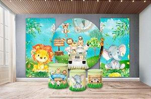 Super Kit Painel De Festa e Capas de Cilindro em tecido sublimado Passeio no Safari