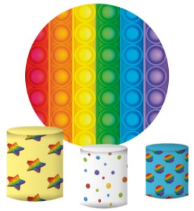 Kit Painel Redondo De Festa e Capas de Cilindro em tecido sublimado Fidget Toys Pop