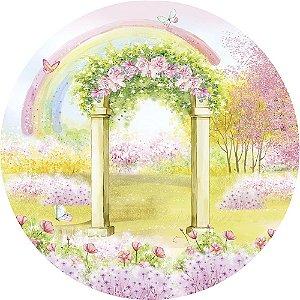 Painel de Festa Redondo em Tecido Sublimado Arco do Jardim Aquarela c/elástico