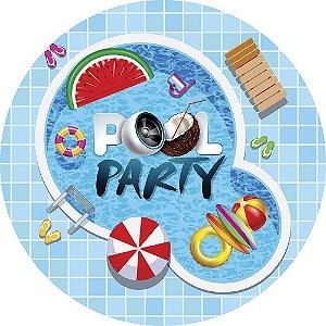 Painel de Festa Redondo em Tecido Sublimado Pool Party Divertida c/elástico