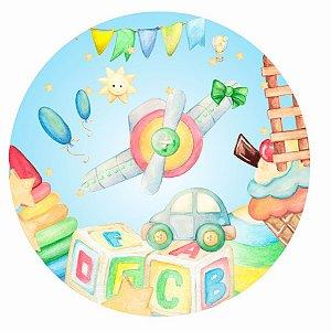 Painel de Festa Redondo em Tecido Sublimado Lindos Brinquedos c/elástico