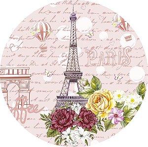 Painel de Festa Redondo em Tecido Sublimado Paris Rosa c/elástico