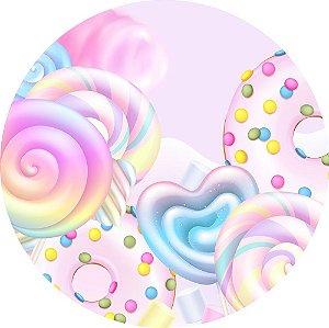 Painel de Festa Redondo em Tecido Sublimado Lindos Doces Candy c/elástico