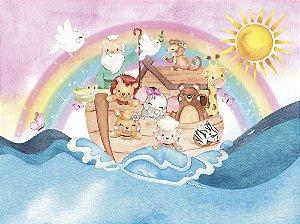 Painel de Festa em Tecido Sublimado 3d Arca de Noé Rosa