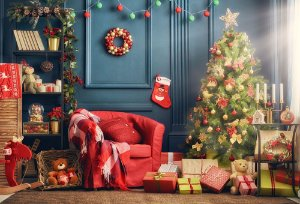 Painel de Festa em Tecido Sublimado 3d Quartinho do Natal
