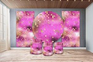 Super Kit Painel De Festa e Capas de Cilindro em tecido sublimado Shimmer Wall Pink