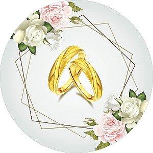 Painel de Festa Redondo em Tecido Sublimado Aliança Casamento c/elástico