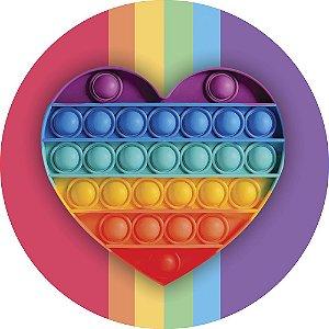 Painel de Festa Redondo em Tecido Sublimado Fidget Toy Heart c/elástico