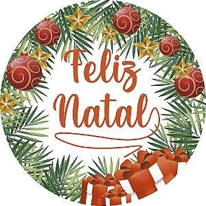 Painel de Festa Redondo em Tecido Sublimado Feliz Natal Guirlanda c/elástico