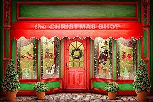 Painel de Festa em Tecido Sublimado 3d Lojinha de Natal