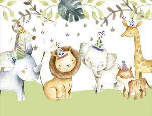 Painel de Festa em Tecido Sublimado 3d Aniversário no Safari
