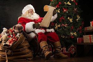Painel de Festa em Tecido Sublimado 3d Lista do Papai Noel