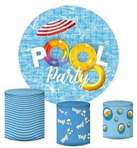 Kit Painel Redondo De Festa e Capas de Cilindro em tecido sublimado Linda Pool Party