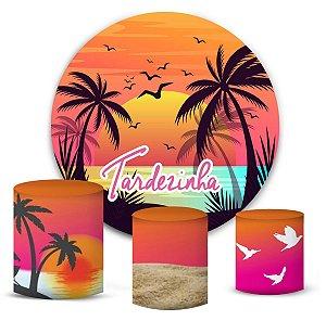 Kit Painel Redondo De Festa e Capas de Cilindro em tecido sublimado Tardezinha Pássaros