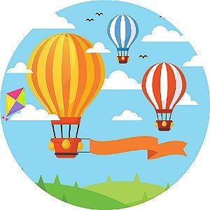 Painel de Festa Redondo em Tecido Sublimado Balões e Pipas c/elástico