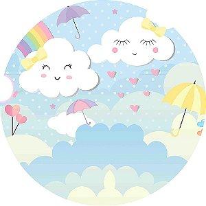 Painel de Festa Redondo em Tecido Sublimado Chuva de Amor c/elástico