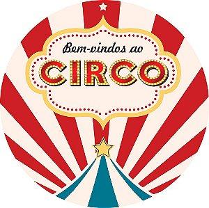 Painel de Festa Redondo em Tecido Sublimado Circo Vintage c/elástico