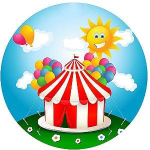 Painel de Festa Redondo em Tecido Sublimado Dia de Circo c/elástico