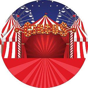 Painel de Festa Redondo em Tecido Sublimado Circo e Roda Gigante c/elástico