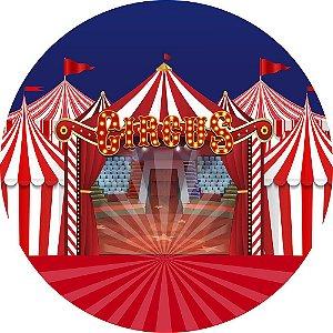 Painel de Festa Redondo em Tecido Sublimado Circo Picadeiro c/elástico
