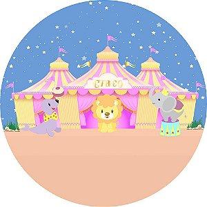 Painel de Festa Redondo em Tecido Sublimado Circo Cute c/elástico
