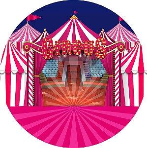Painel de Festa Redondo em Tecido Sublimado Circo Rosa Picadeiro c/elástico